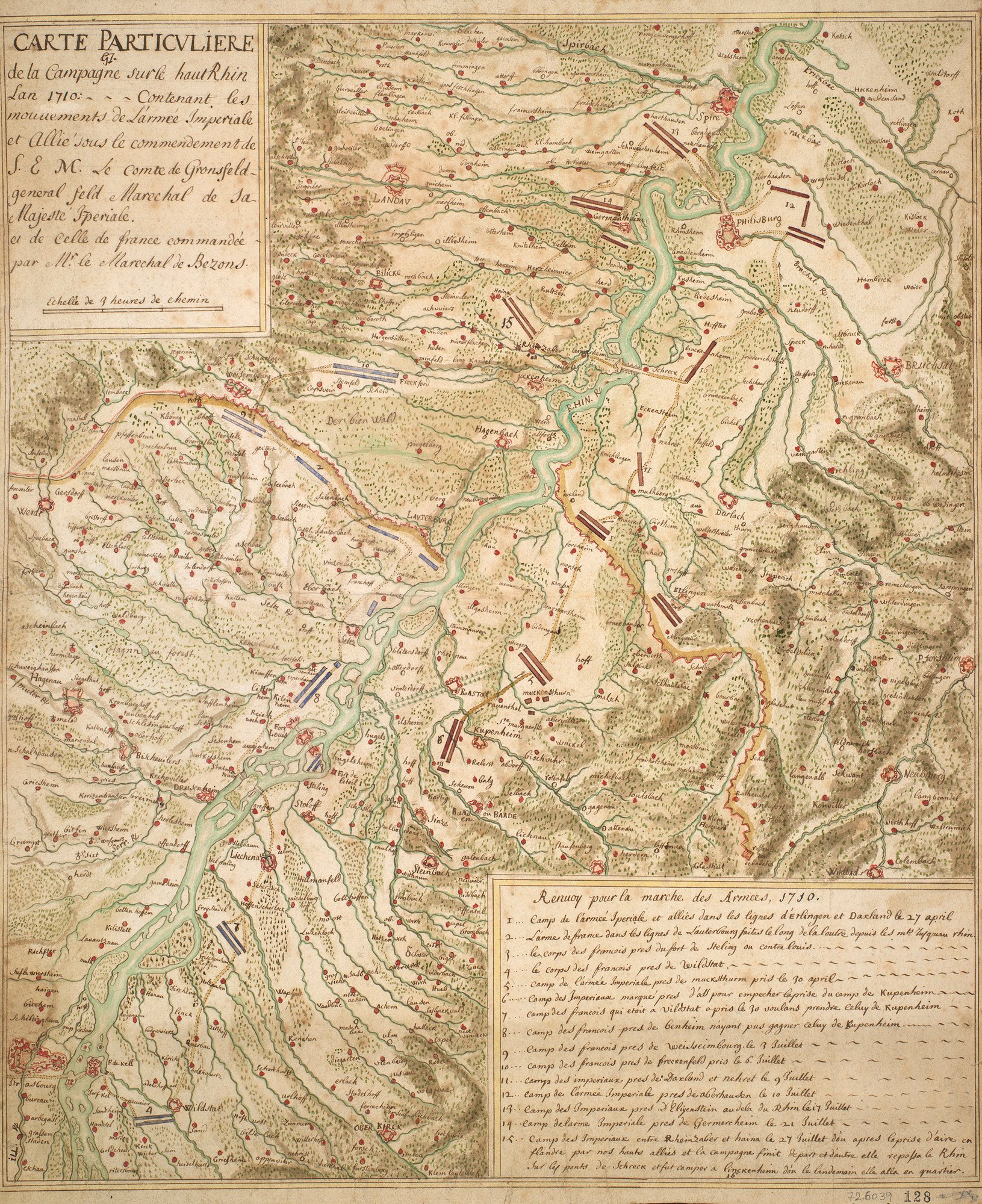 A map of the Allied and French encampments and marches along the Rhine between 27 April and 27 July 1710. War of the Spanish Succession (1701-14). Oriented with north to top.  The map covers an area extending along the Rhine from Ketsch (49°22'04