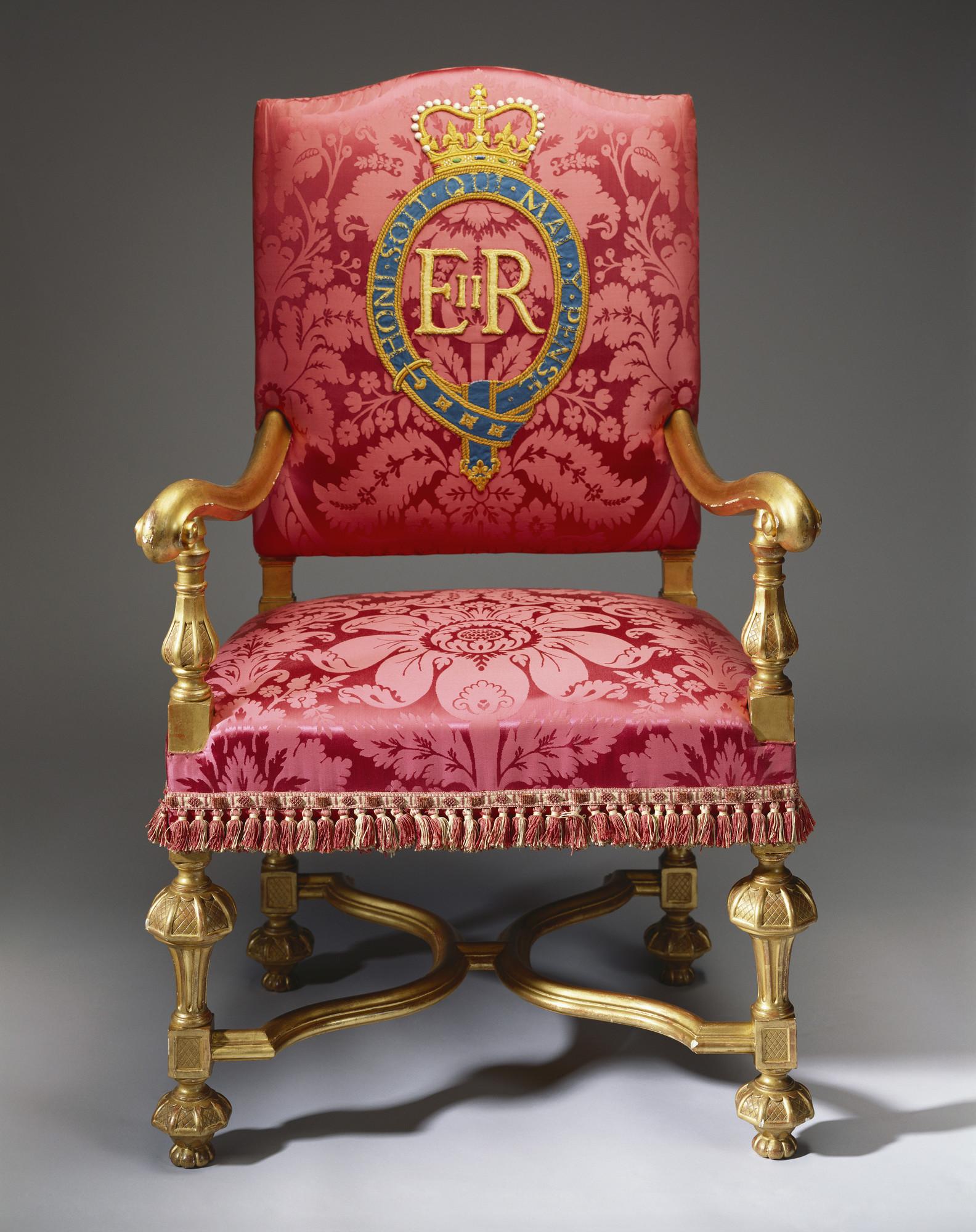 Description. Gilt Wood Throne Chair ...