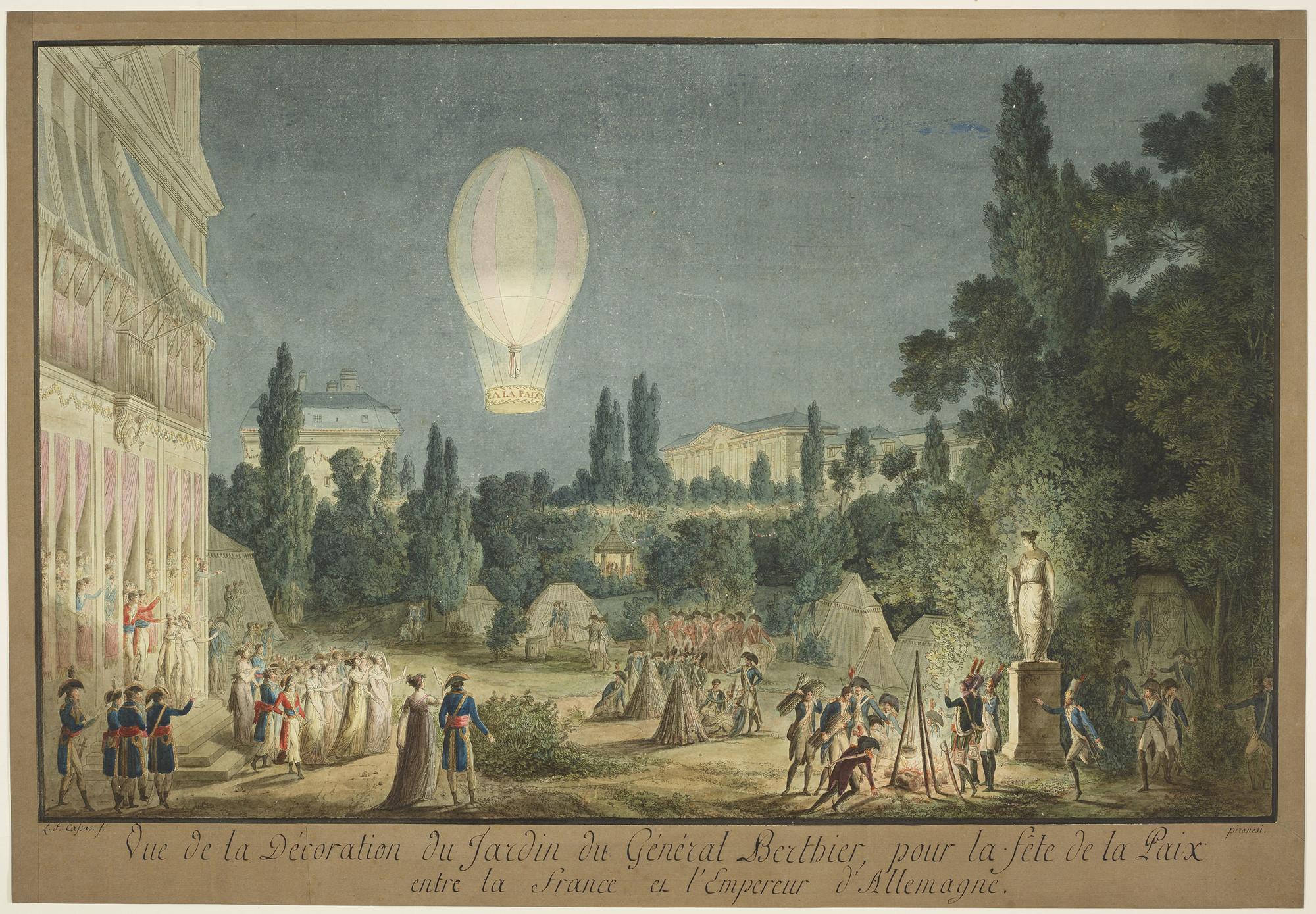 Louis François Cassas (1756-1827) - Vue de la Decoration du Jardin ...
