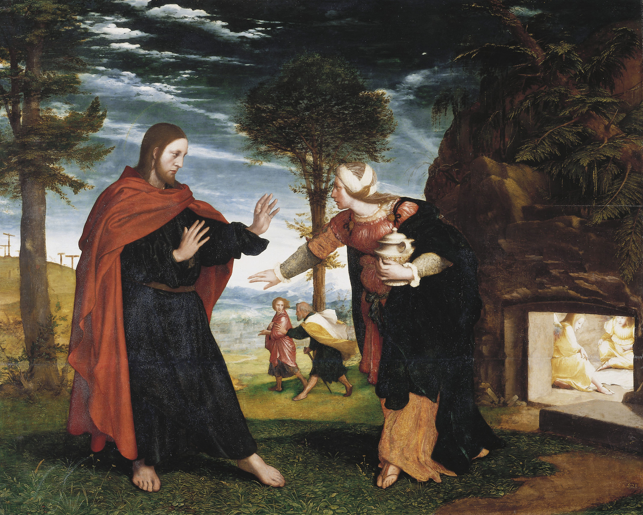 """Painting: """"Noli me tangere"""" (""""Do not touch me""""), by Hans Holbein the Younger, ca. 1527, oil on oak, 76,7 cm x 95,8 cm, Royal Collection, Hampton Court Palace, East Molesey, United Kingdom. The scene is described in John 19:41 to 20:18; confer Song of Songs 3:1-4. The title of the work is pronounced in John 20:17a, a possible reference to Numbers 19:16. The vessel with aromatic preparations which Mary Magdalene brings to process the body of her Teacher, as approved (according to tradition) in Matthew 26:6-13, Mark 14:3-9, Luke 7:36-50 and John 12:1-8, contradicts Jesus' reaction at this point, however. The explanation is that John (19:38-40) and Matthew (28:1b) contradict Luke (23:50-24:1) and Mark (16:1): by mixing the four stories, the picture is contradictory. In academic circles this scene is known as """"The problem of the empty tomb"""", a term that arises from the fact that Mark, theoretically the first synoptic gospel written and foundation for the others, originally ended at verse 8 of chapter 16 (as witnessed by the Codex Sinaiticus, the Codex Vaticanus, the Syriac Sinaitic palimpsest, much of the Armenian Manuscripts, the Canons of Eusebius, etc.). The next verse, the number 9, which puts forward for the first time the issue of an apparition of Jesus of Nazareth to Mary Magdalene (without even specifying where or under what circumstances), as well as the subsequent verses, with their multiple and conflicting historical variants, were added later by other scribes. One explanation for this apocryphal action was """"vox populi"""" among the Jews of the time, as evidenced in Matthew 28:11-15. If so, the psychological suffering of Mary, called Magdalene, whom Jesus healed of """"seven devils"""", would have had no end. Credit: Hans Holbein the Younger, via The Royal Collection Trust, available at http://www.royalcollection.org.uk. Photography Copyright © 2013 Her Majesty Queen Elizabeth II. All rights reserved. This image file is hosted in computer servers of The Royal Collectio"""