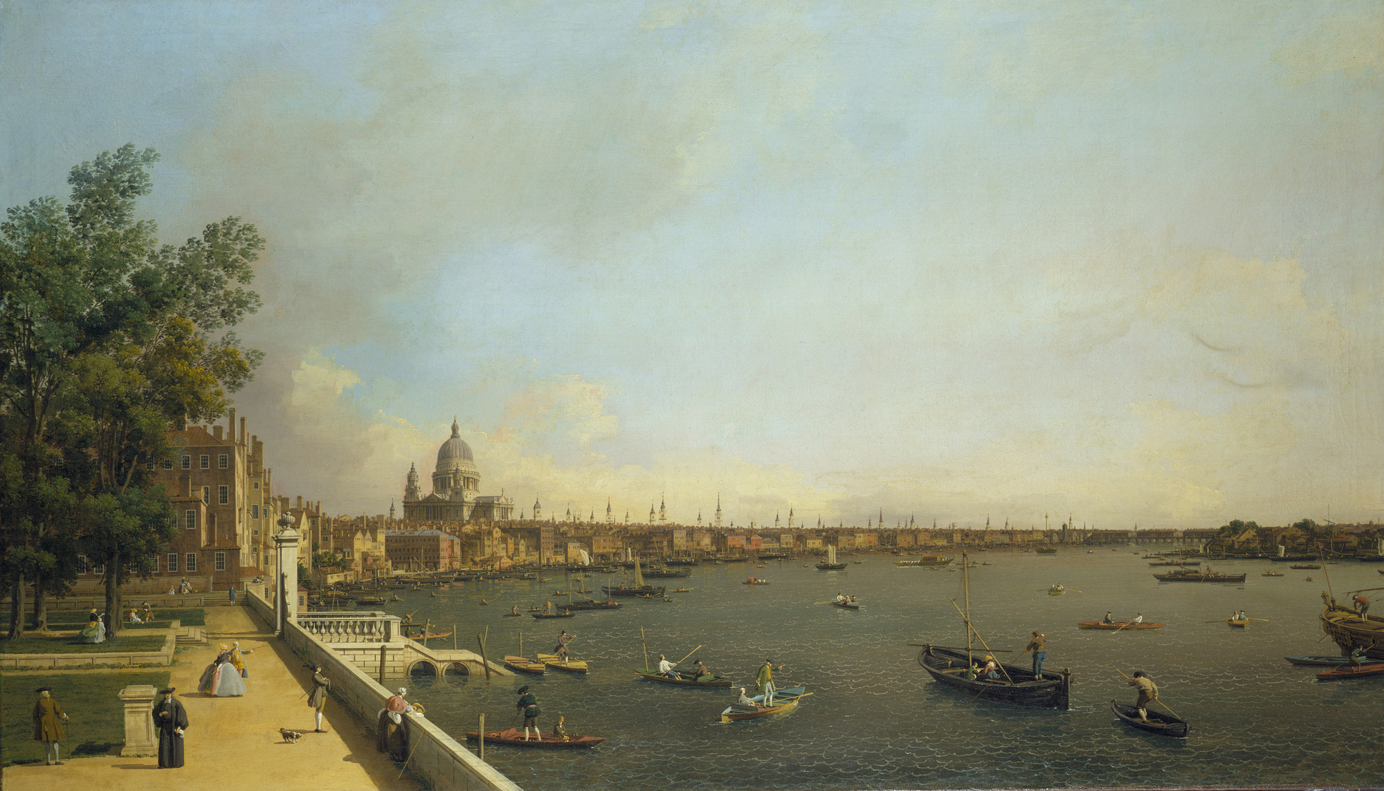 Canaletto venice 1697 venice 1768 london the thames for Terrace of the house