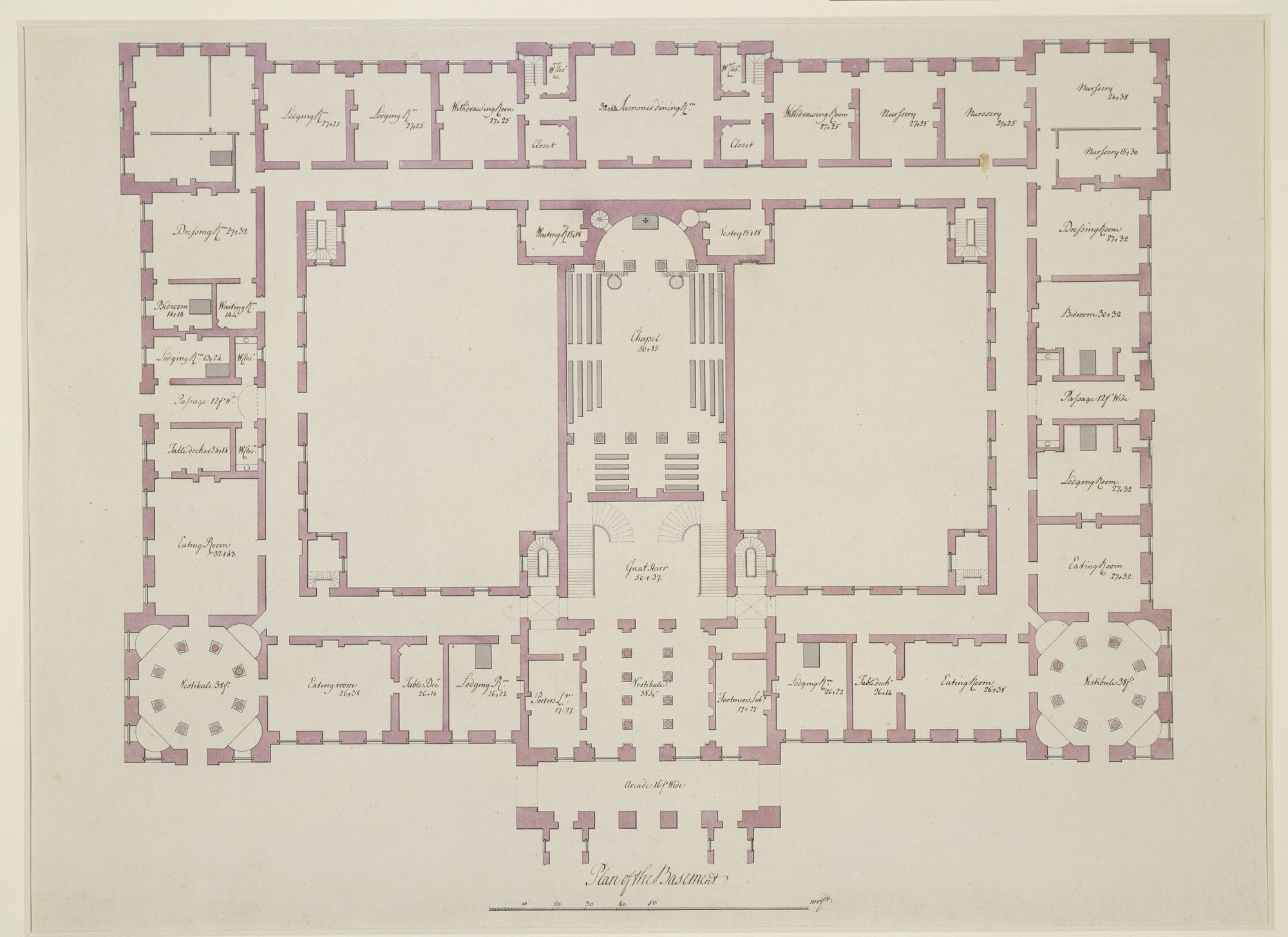 Sir william chambers 1722 96 two plans of richmond palace for Palace house plans