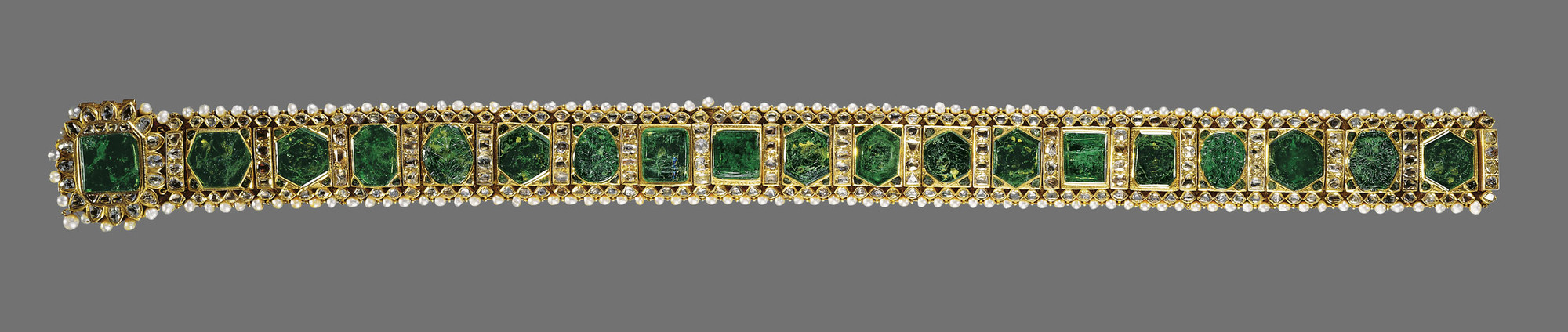 gold girdle or belt with emeralds and pearl embellishments Emerald girdle of Maharaja Sher Singh