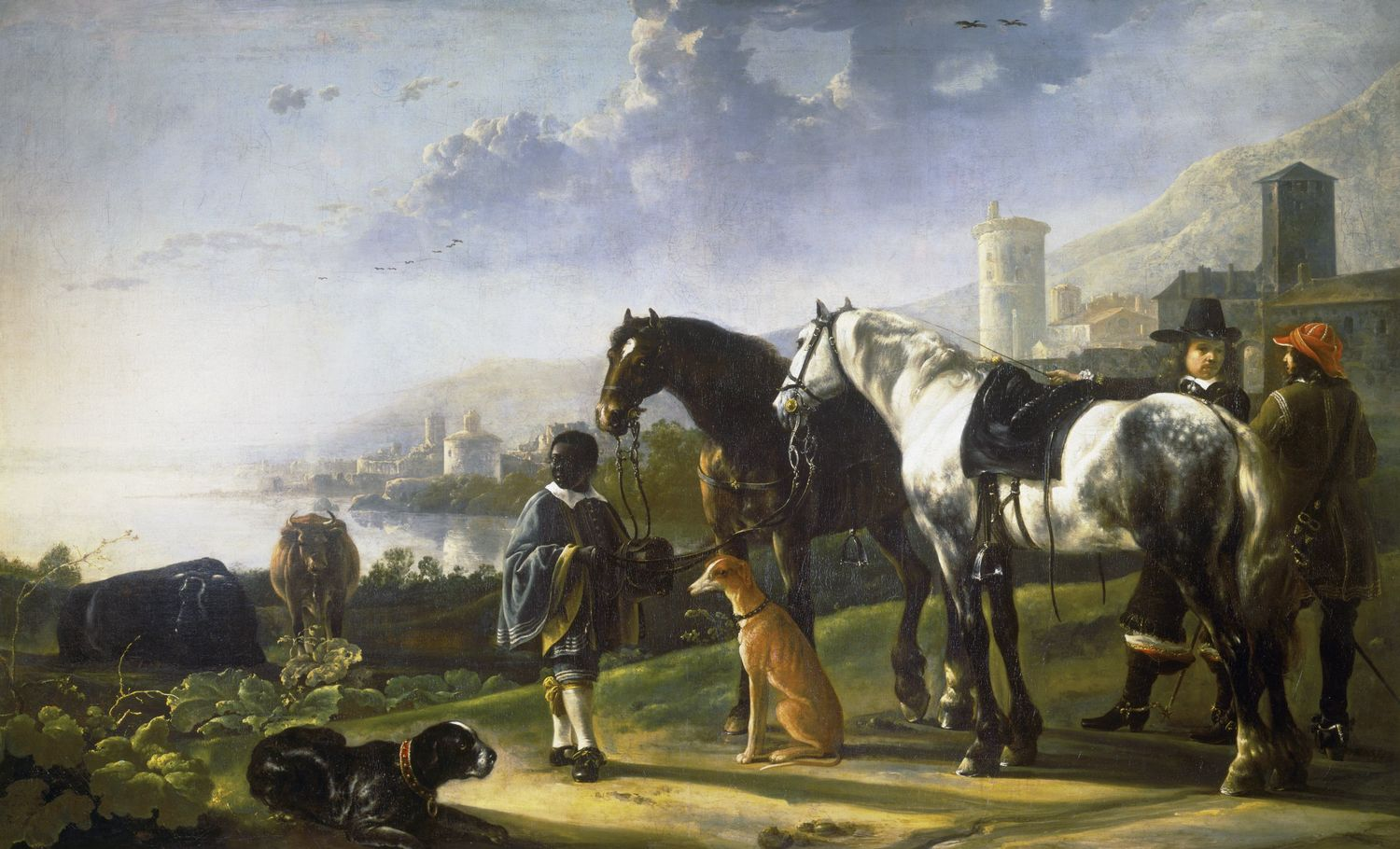 Aelbert Cuyp Dordrecht 1620 Dordrecht 1691 A Page With Two Horses