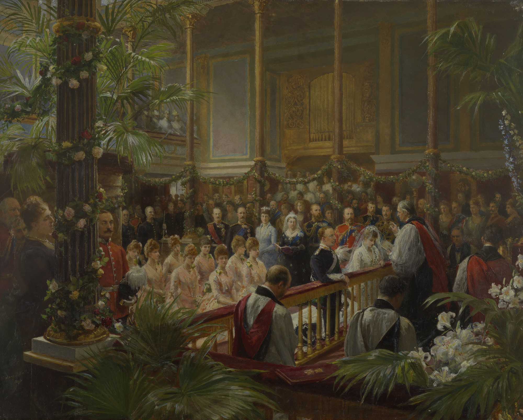 wedding in art: Sir Sydney Prior Hall, The Marriage of Princess Louise of Wales with the Duke of Fife at Buckingham Palace, ca. 1890, Royal Collection Trust, London, UK.