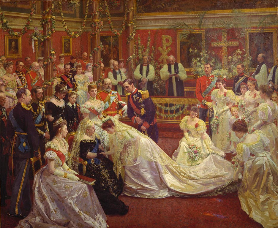 Laurits Regner Tuxen, The Marriage of Princess Maud of Wales, ca. 1896 to 1897, Royal Collection Trust, London, UK. queen victoria weddings