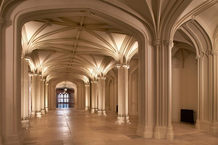 The Inner Hall at Windsor Castle, showing a vaulted ceiling with pillars