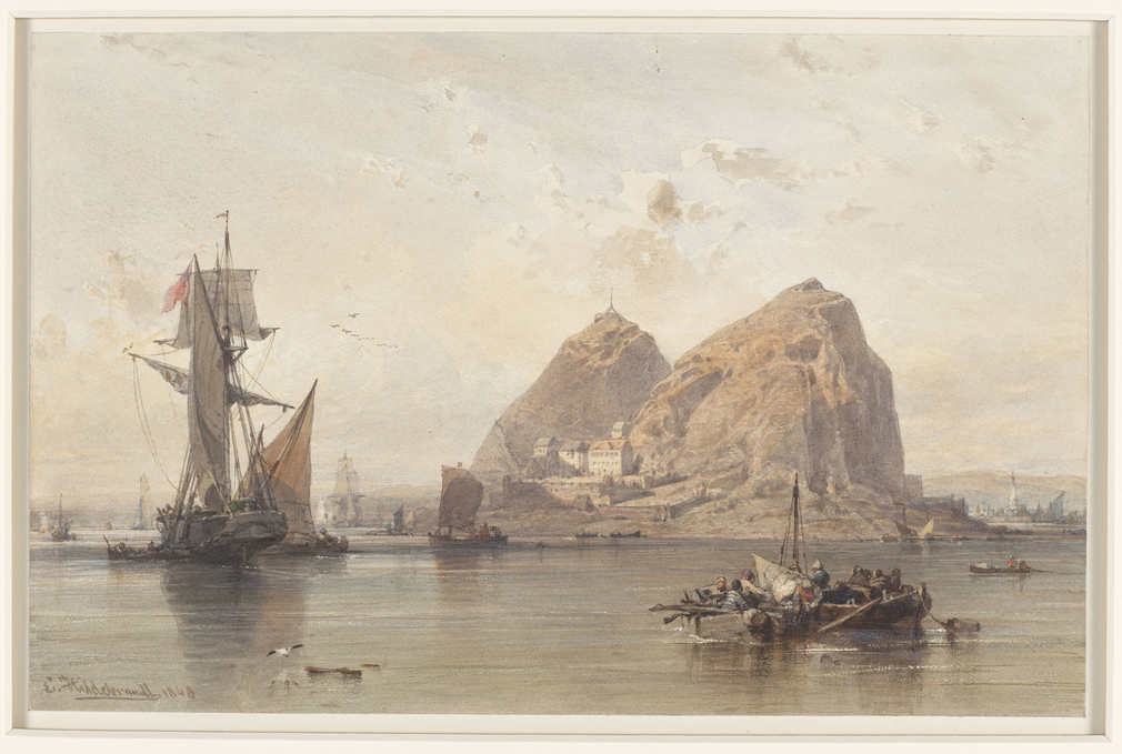A watercolour view of Dumbarton Castle in west Scotland; set on a crag, the castle is seen from Bishopton, and there are fishing boats and other craft in the foreground. Signed and dated bottom left: E Hildebrandt 1848. In August 1847 Queen Victoria, Prin