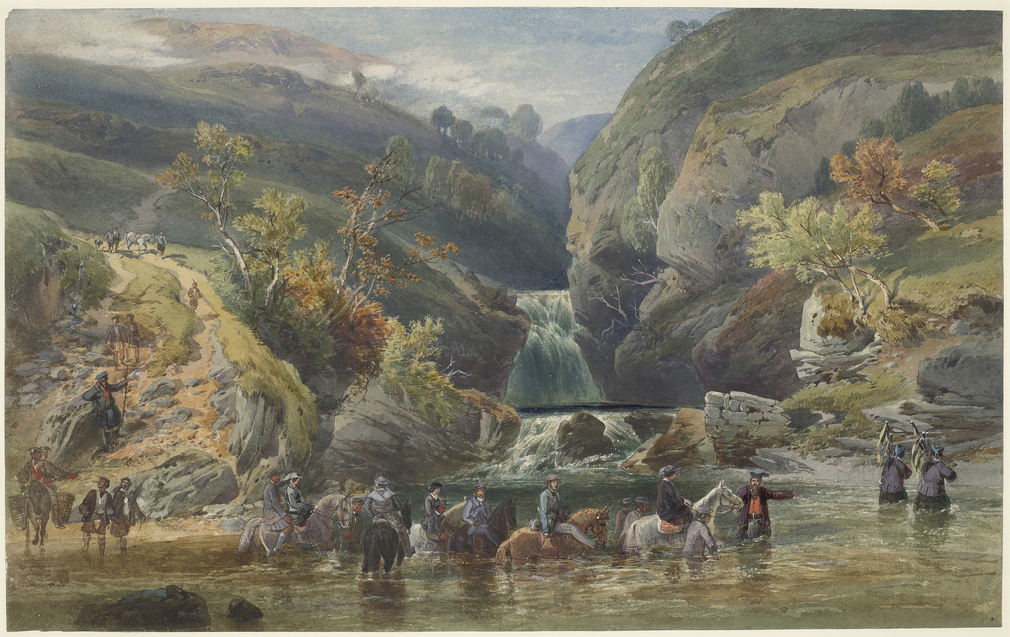 A watercolour depicting a group of people on horseback, including Queen Victoria, Prince Albert, their daughter Princess Alice and her fiancé Prince Louis of Hesse, crossing the river at the head of Glen Tilt, at the meeting of the Rivers Tilt and