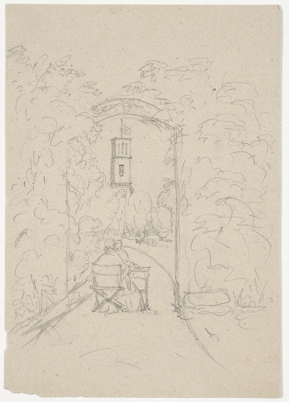 Pencil sketch of back view of Queen Victoria at a table: Osborne Campanile in distance.