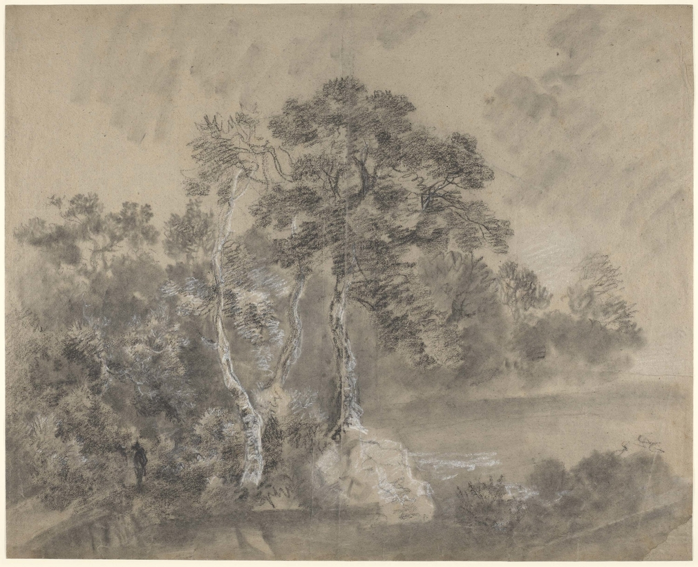 A drawing in black and white chalk and stump of alandscape withtrees, possibly beside a lake. Drying fold at centre of sheet. A possible standing figure in black chalk is among the trees to the left. Gainsborough has used stump extensively in