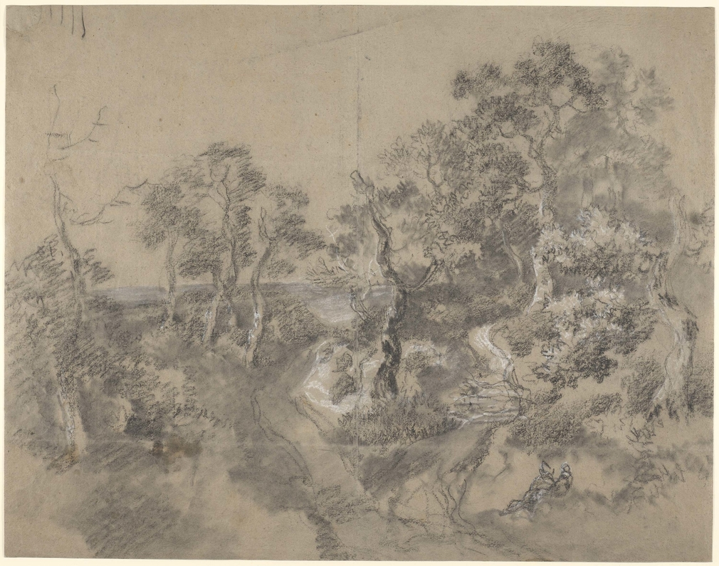 A drawing in black and white chalk and stump of a landscape crowded with trees, showing moorland in distance. Drying fold at centre of sheet. Small oil stains. Several strokes with the chalk at top left. This drawing is one of 25 landscape drawings in th