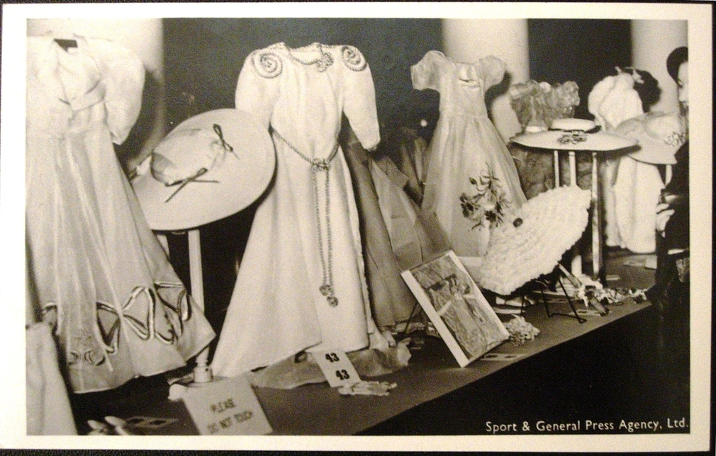 Exhibition of dresses worn by the dolls Marianne and France [Box: KGVI & family]