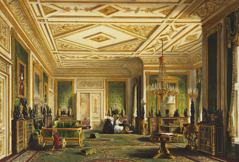 A lithograph after a watercolour of a view within the Green Drawing Room, Windsor Castle; with three female figures gathered around a harpsichord or spinet at the far end of the room.