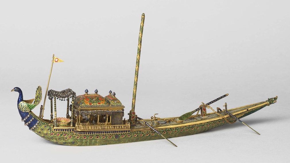 Enamelled gold ink-stand presented to the Prince of Wales during his tour of India in 1875-76
