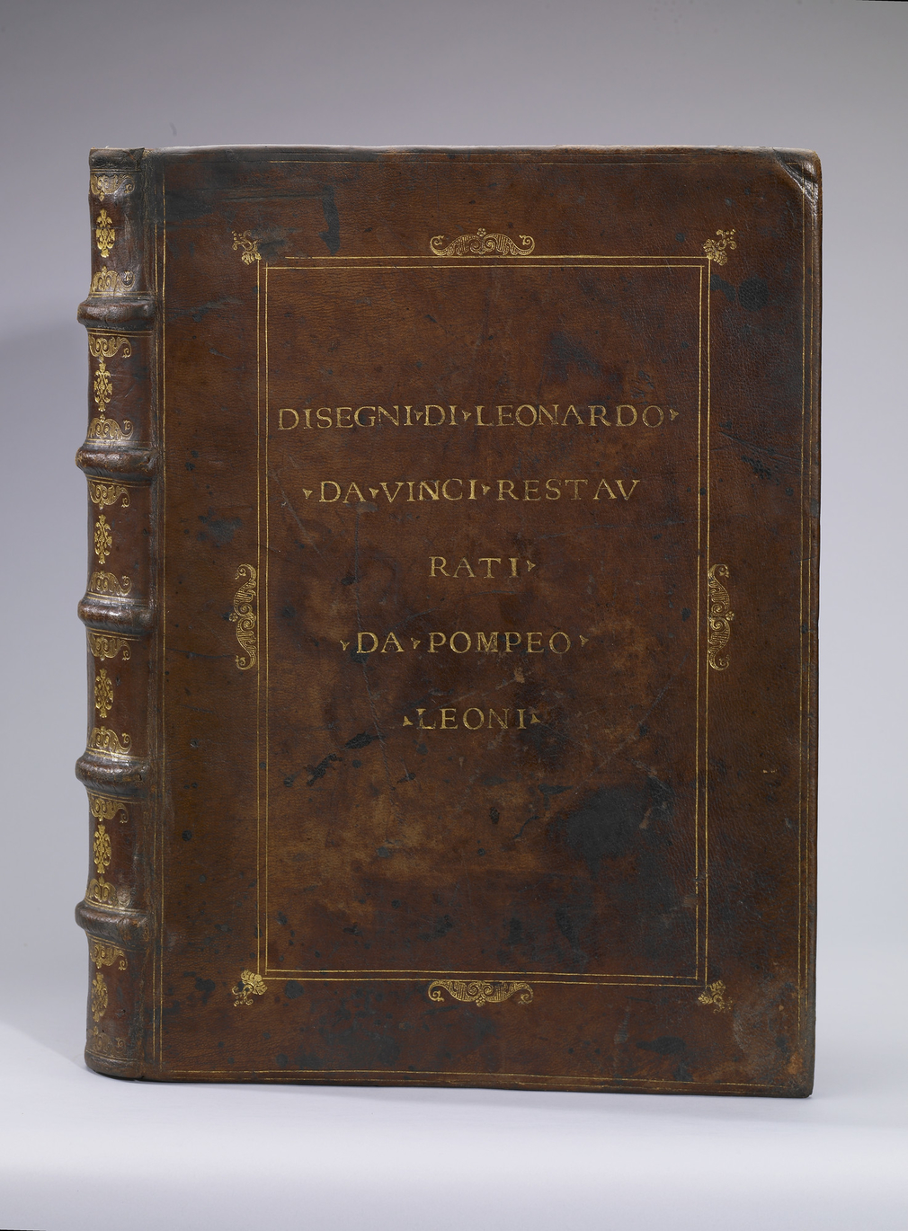 This is the binding of the album made up for Pompeo Leoni in the late sixteenth century to house over 500 of Leonardo's drawings, including all the anatomical studies now known. The album was brought to England, probably by the agents of Thomas Howa
