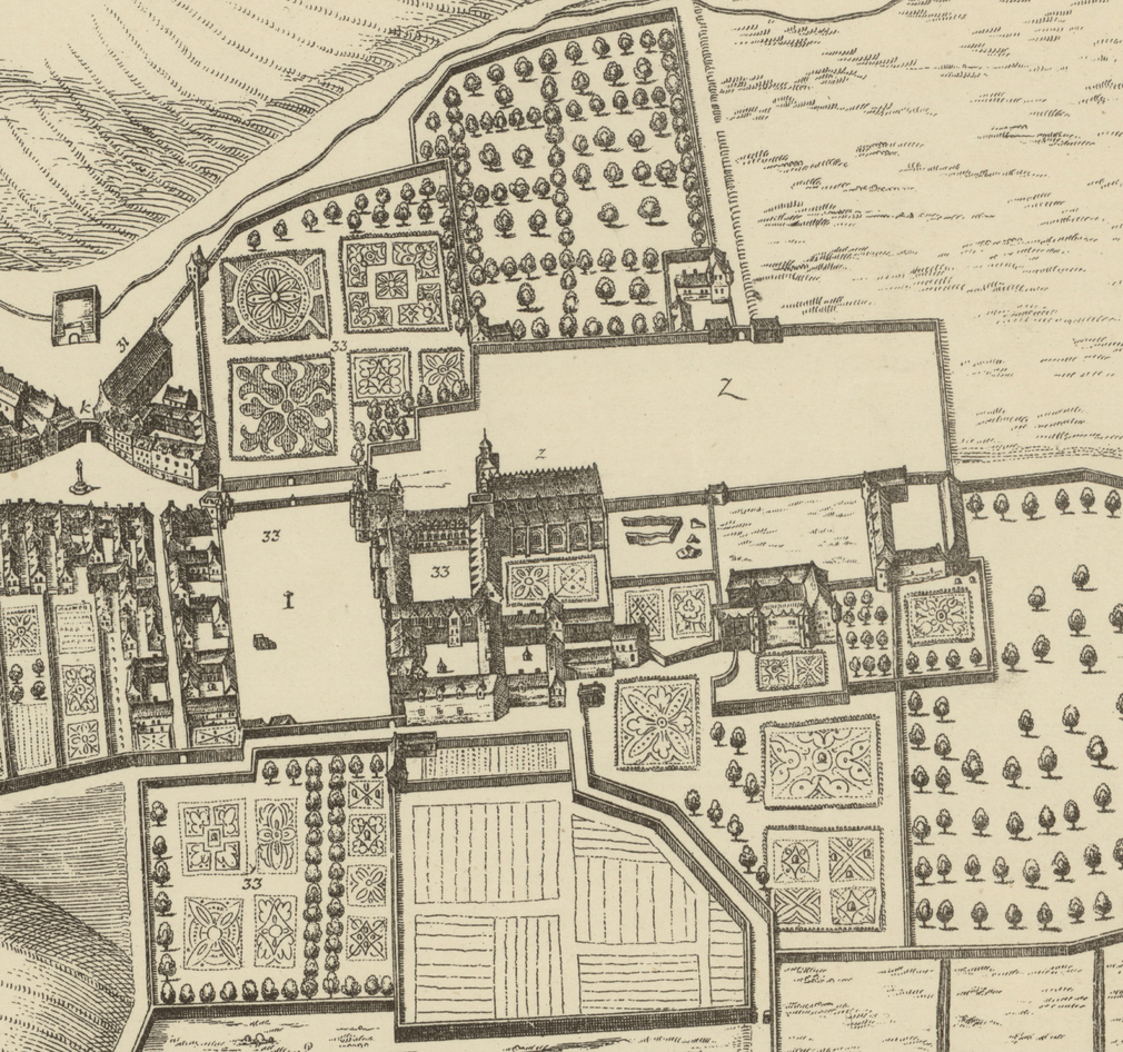 A view of the gardens at the Palace in 1647.