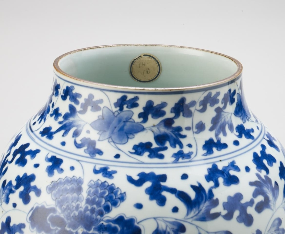 A blue-and-white porcelain vase collected by William III and Mary II at Hampton Court Palace