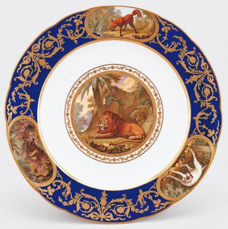 This exceptional plate was sold to George IV as part of the Sèvres service commissioned by Louis XVI. On 8 January 1790, Louis XVI did indeed purchase from the manufactory '1 assiette animaux' at a cost of 300 livres, which was not, however, part of