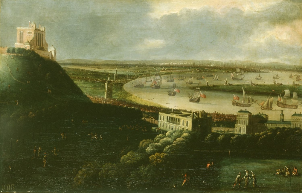 A view across Greenwich park, in which figures are conversing and walking, to the Observatory and down to the Queen's House and the new buildings at Greenwich, to the tower of St Alphege, the Thames, the dockyard at Deptford and the distant city.  The s