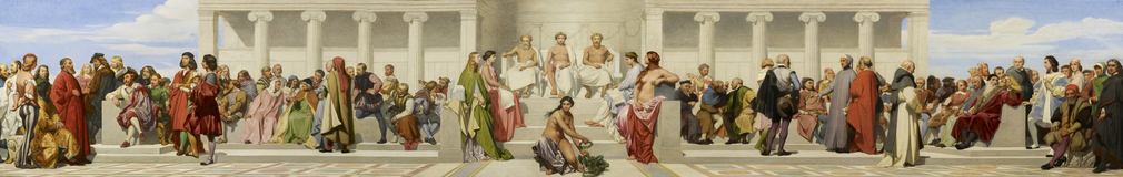 This is a replica of the mural in the semi-circular lecture theatre or Salon des Prix of the École des Beaux-Arts in Paris (hence the 'hémicycle' of the title), executed by Delaroche and four students between 1836 and 1841. It wa
