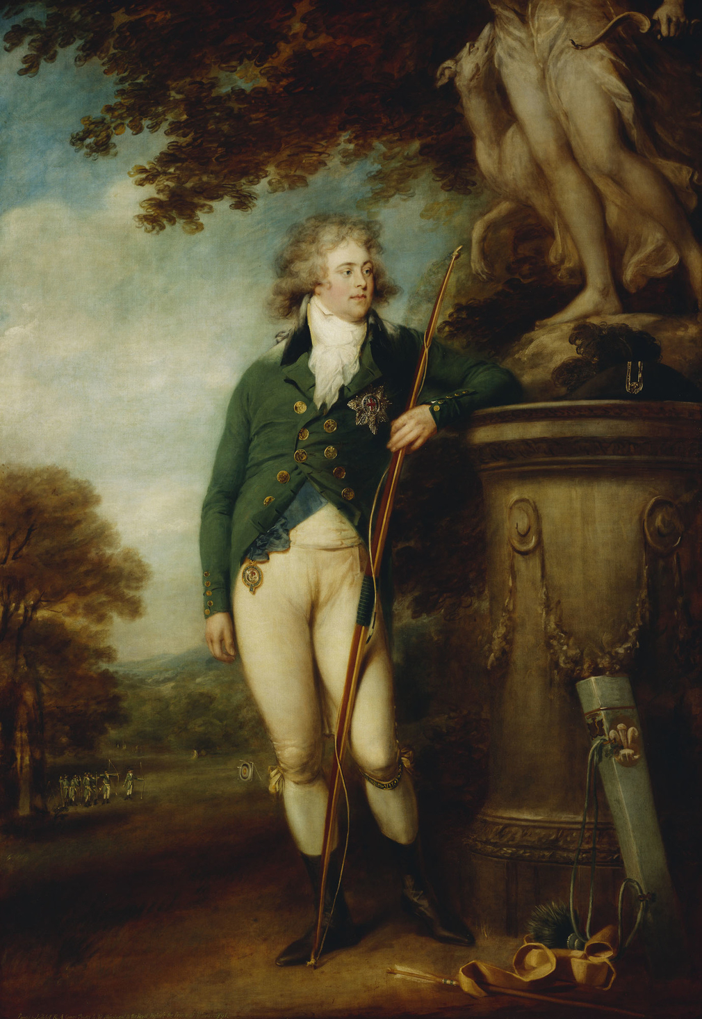 The Prince of Wales was interested in his self-image. This flattering, athletic portrait was commissioned by him as a prize for a meeting of the Royal Kentish Bowmen. As president of the society, he is dressed in their green uniform. He leans on the pedes