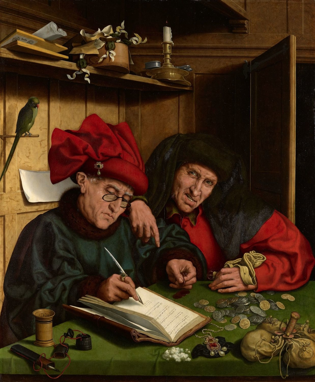 In c.1520 the Venetian nobleman Marcantonio Michiel saw a painting of a banker and his client in Milan by Jan van Eyck which he noted had been painted in 1440. The lost original appears to have been the catalyst for a popular type of painting in the sixte