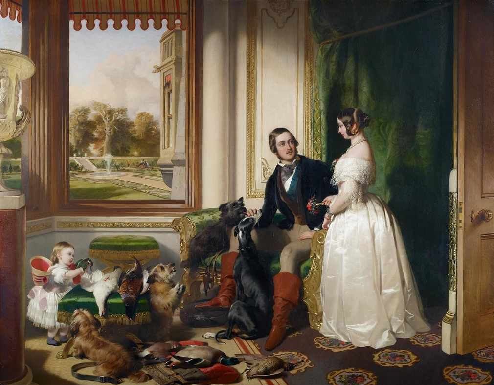 Landseer had his first interview to discuss this picture two months after the royal couple's marriage in 13 April 1840; at this stage the painting seems to have been planned as a happy sequel to Queen Victoria Riding Out (Royal Collection), which was exhi