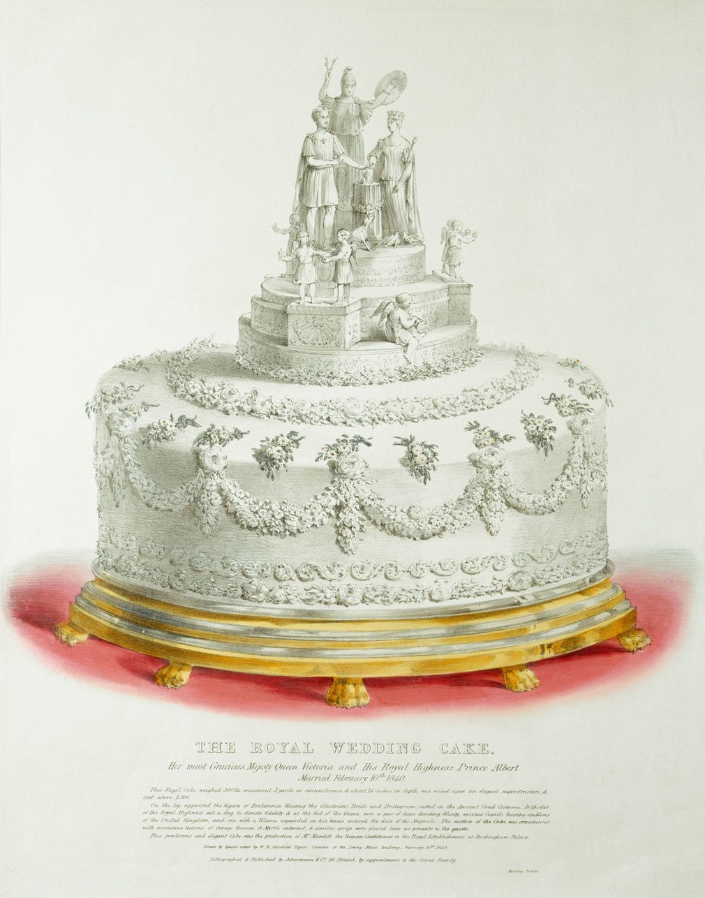 A hand-coloured lithograph of one of the royal wedding cakes produced for the wedding of Queen Victoria and Prince Albert on 10 February 1840. Lettered below with title, publication details and a description of the cake and its decoration.<br /><br />This
