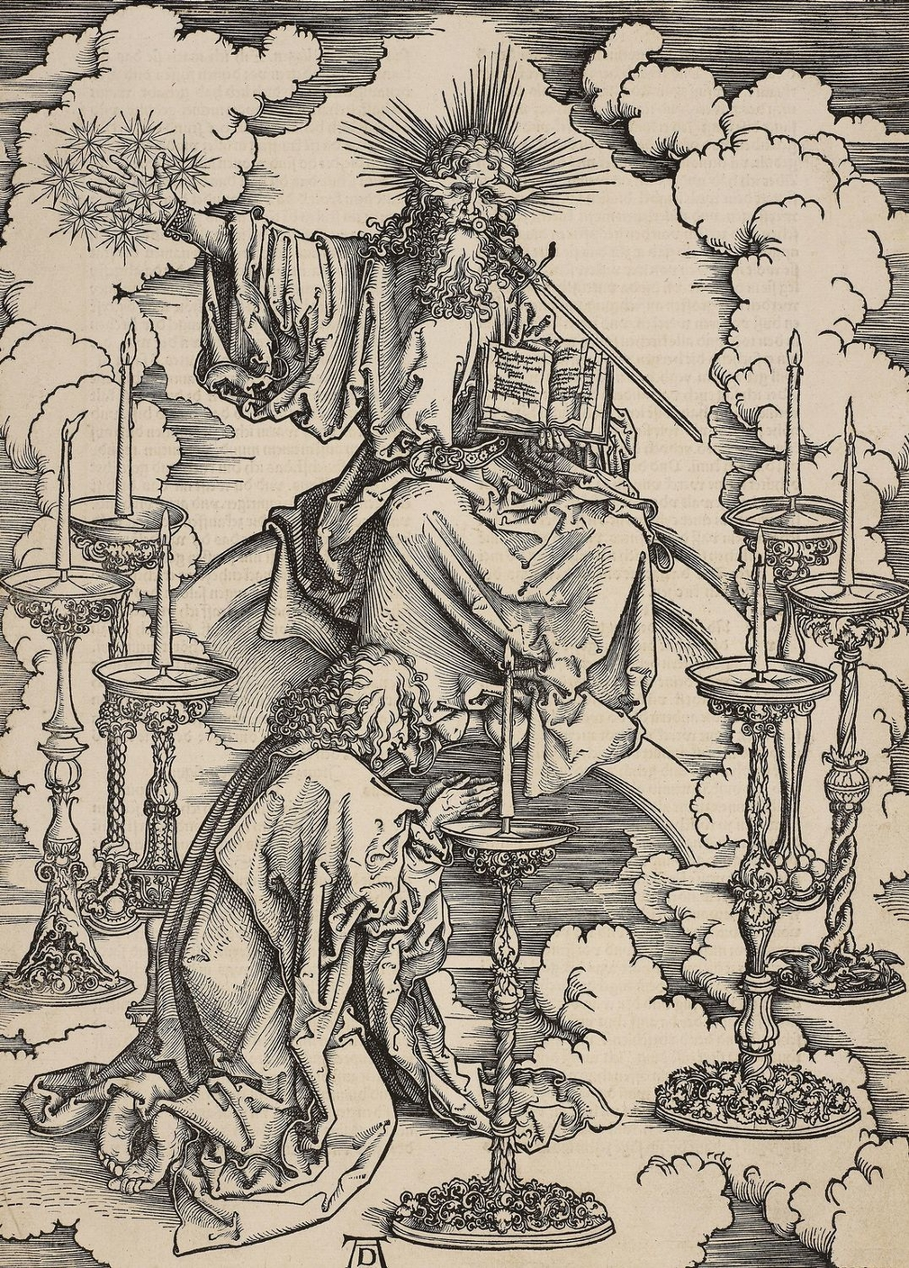 A woodcut from Dürer's 'Apocalypse' showing the Vision of the Seven Candlesticks.