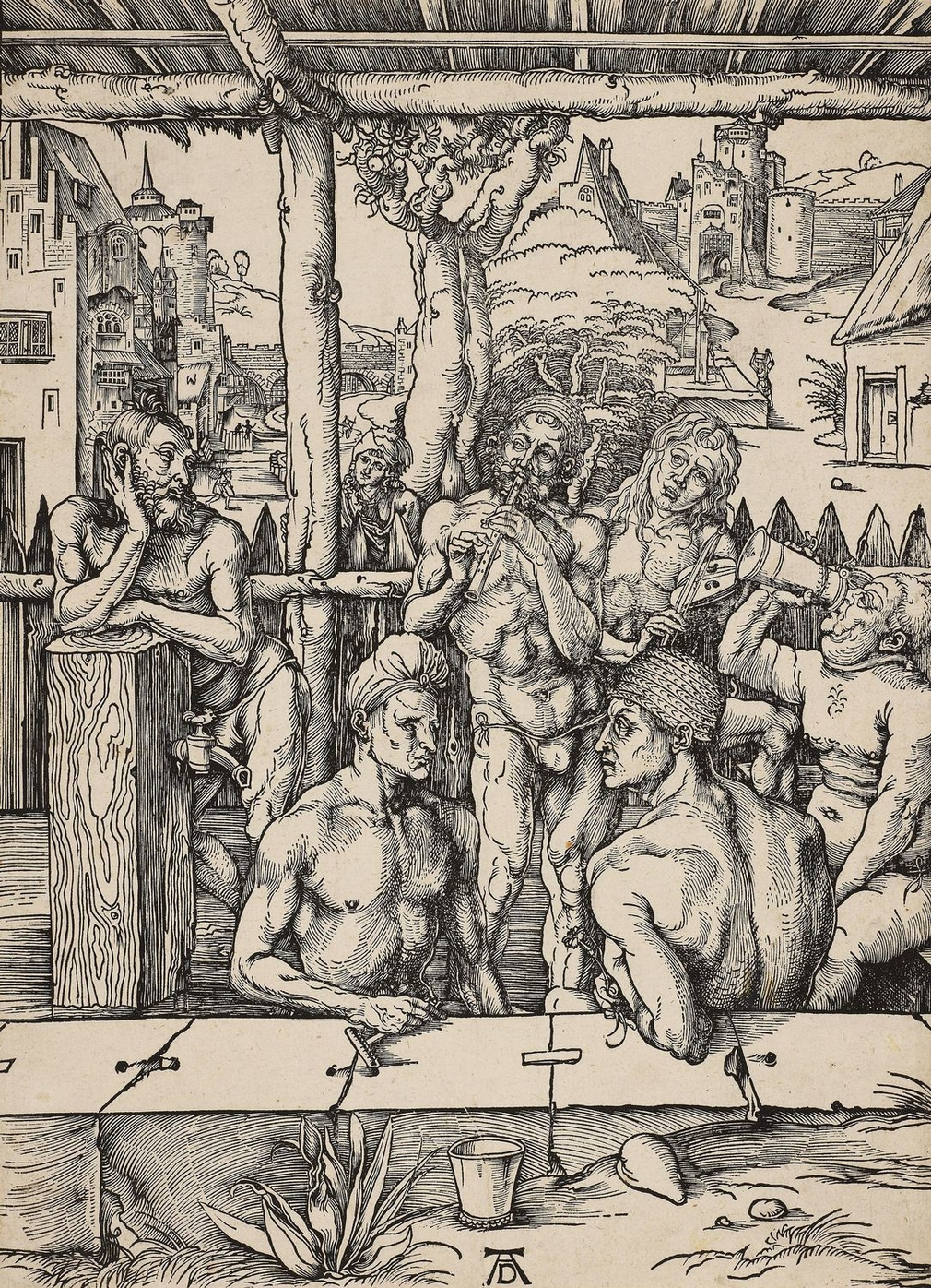 A woodcut of four men at a male bathhouse (a communal meeting place for both washing and socialising) listening to two musicians. One leans against a water pipe, another drinks from a tankard and two sit in the foreground, one holding a back scraper, the