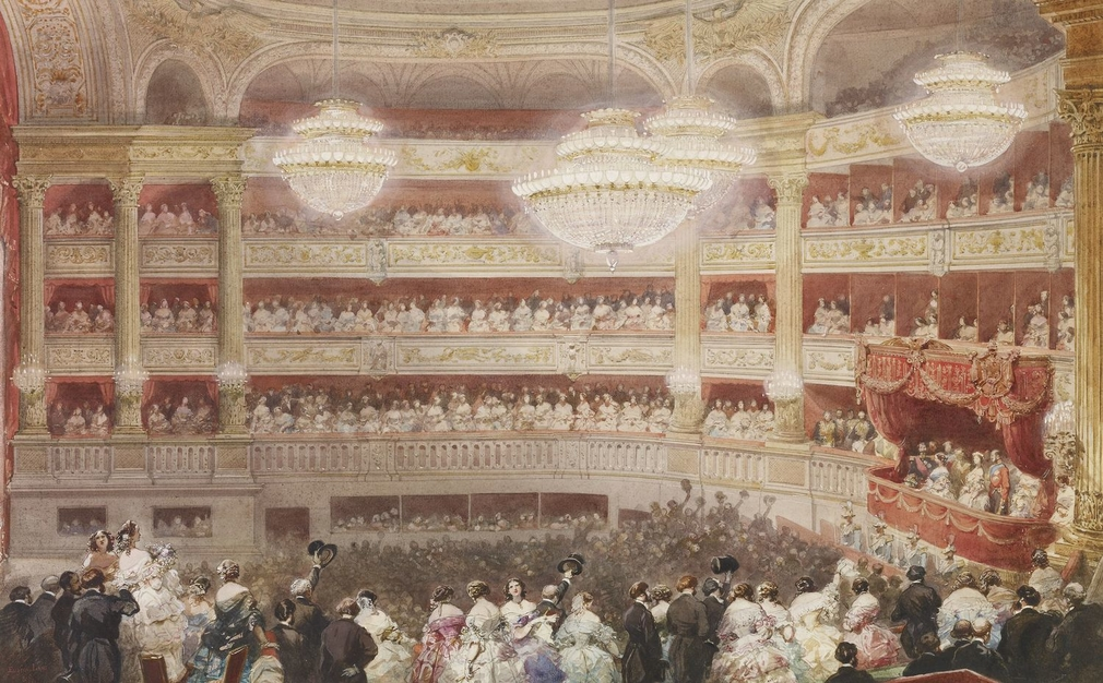 The Queen and Prince enjoyed a rapturous welcome during their State Visit to France in 1855.This watercolour, commissioned by the Emperor Napoleon III, records a gala performance of opera and ballet extracts given in their honour the Queen and her compani