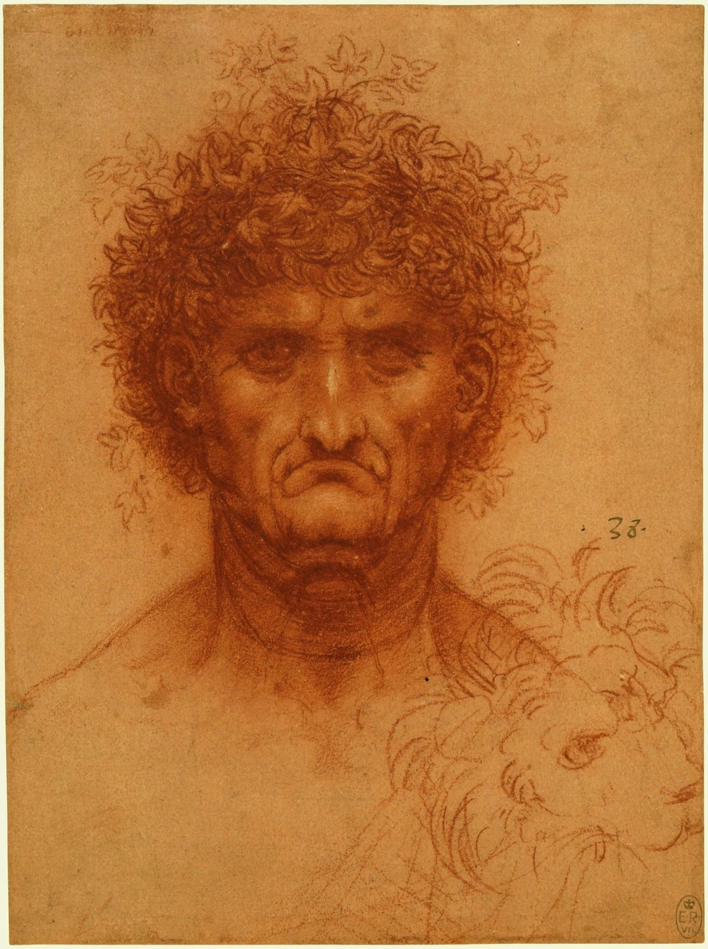 A drawing of the head of a clean-shaven man, facing the viewer. He has a down-turned mouth and a mass of curly hair interspersed with leaves (Hedera helix). In the top left corner is some illegible writing, and below, to the right, a lion's head is lightl