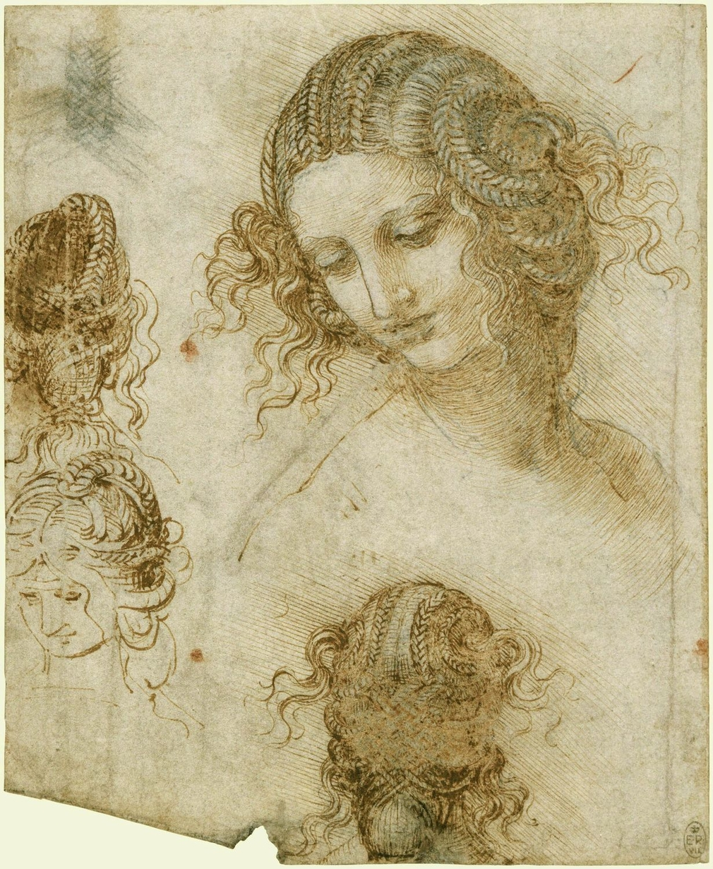 Various sketches of the head of a woman: on the right is a sketch of the head turned to the left, looking down three quarters left, with the hair elaborately coiled and braided. Beneath this is a drawing of a head seen from the back. On the left are three
