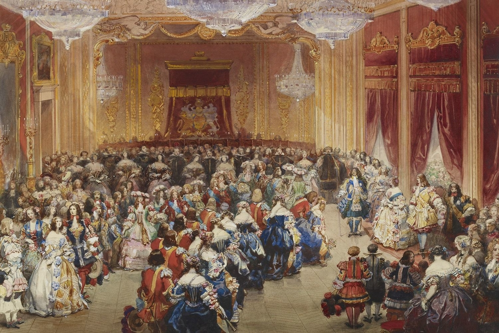 A watercolour depicting the Queen and Prince Albert standing on the right, while the dancers of the English, Scottish, French and Spanish quadrilles approach from the left and make obeisance. <br /><br />The third costume ball at the Palace evoked the rei