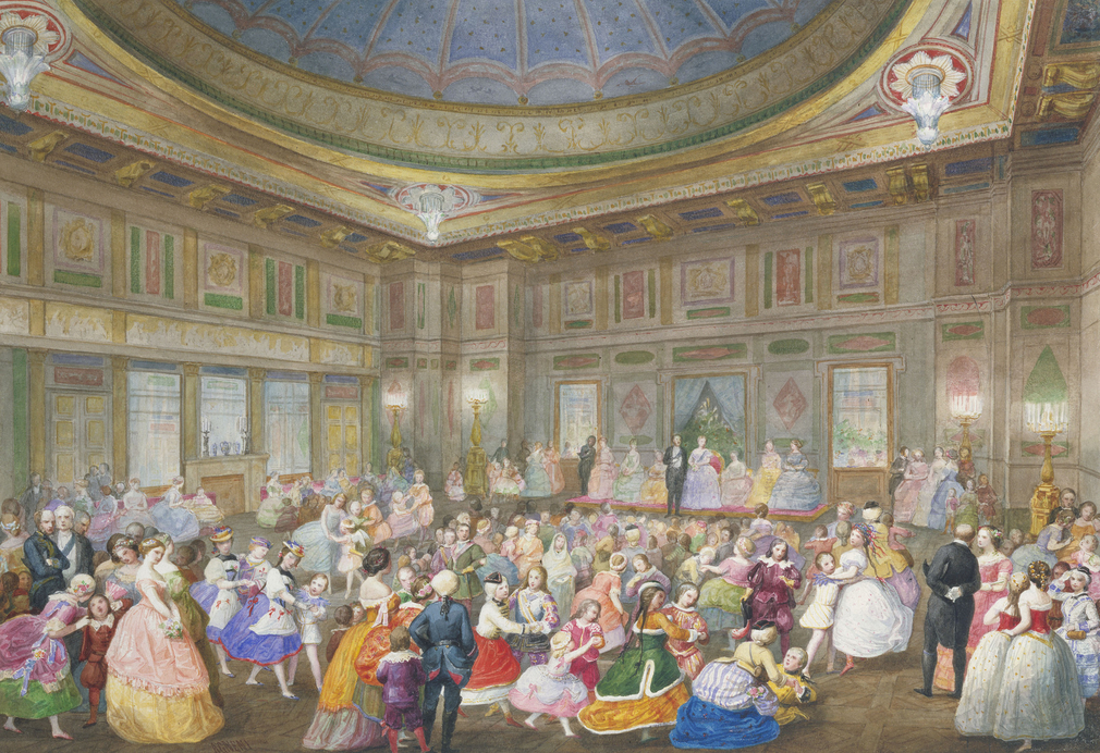 A watercolour depicting the fancy dress ball held in the Ball Supper Room at Buckingham Palace to celebrate the sixth birthday of Prince Leopold, the youngest son of Queen Victoria and Prince Albert. Signed