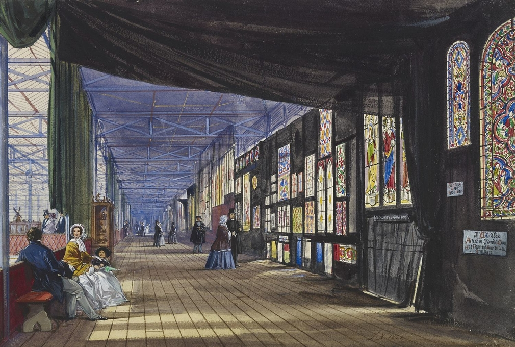A watercolour depicting a topographical interior view of the Stained Glass Gallery at the Great Exhibition of 1851.Initialled and dated bottom right: J N 1852.   In order to display the stained glass at the Exhibition, heavy black cloths were used t
