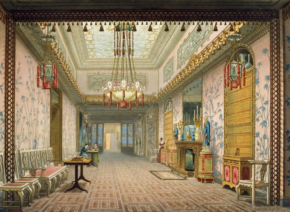 <p>A hand coloured printdepicting a view of the gallery inthe Royal Pavilion, Brighton.For an earlier state see RCIN 708000.af. Plate 15of thereissue of Nash's original publication of illustrations of the exterior and interio