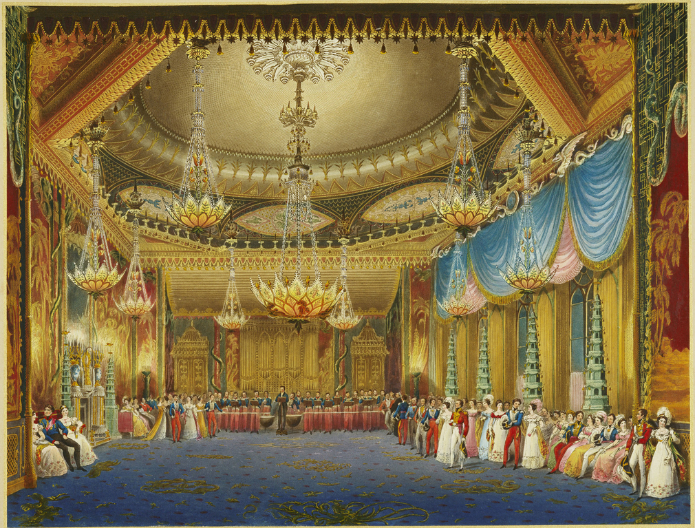 A hand coloured print depicting a view of the music room in the Royal Pavilion, Brighton. For an earlier state see RCIN 708000.ah. Plate 16 of the reissue of Nash's original publication of illustrations of the exterior and interio