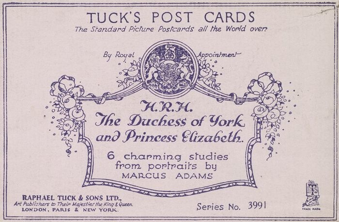 Envelope containing four Tuck post cards of the Duchess of York (1900-2002), with Queen Elizabeth II (b. 1926) when Princess Elizabeth 