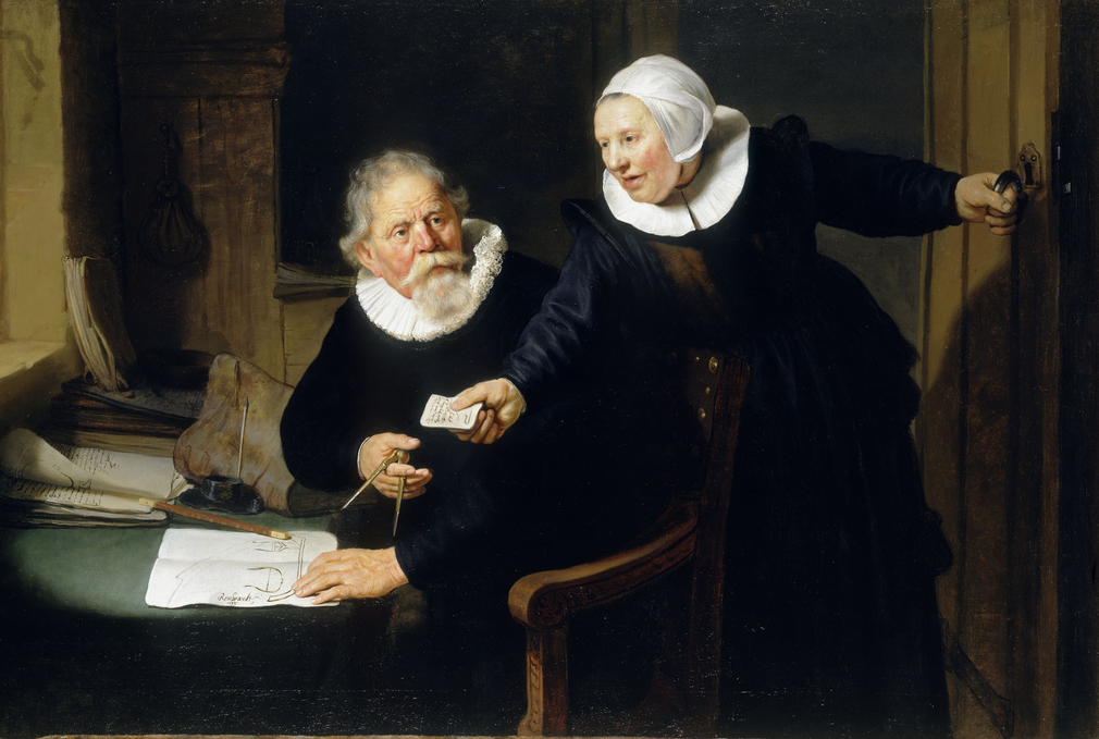 Traditionally called The Shipbuilder and his Wife, this couple were identified in 1970 as Jan Rijcksen (1560/2-1637) and his wife Griet Jans. He was a shareholder in the Dutch East India Company and from 1620 their master shipbuilder; both were Roman Cath