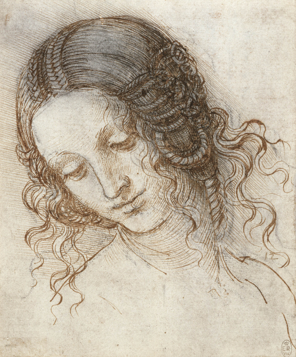 A drawing of the head of a woman turned three quarters to the left, looking down. The hair is fastened in elaborate braids, and arranged in coils over the ears. This is a study for the head of Leda in the lost painting of <em>Leda and the Swan</em>.<br> <