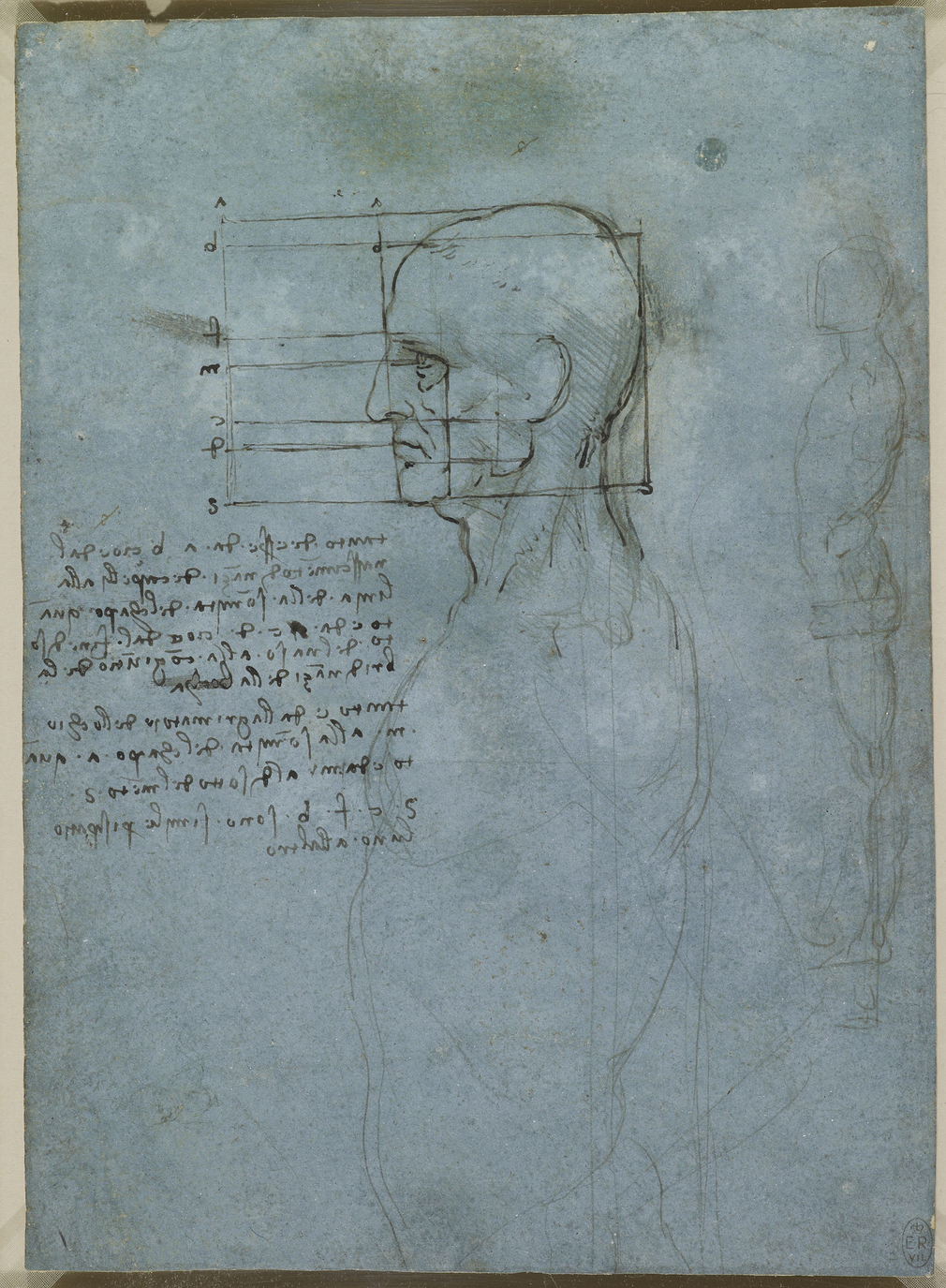 A drawing of a nude man seen to below the waist, turned in profile to the left. His head is more finished and squared for proportion. There is also a note on the proportions of the head. To the right is a full-length figure of a nude man standing in profi