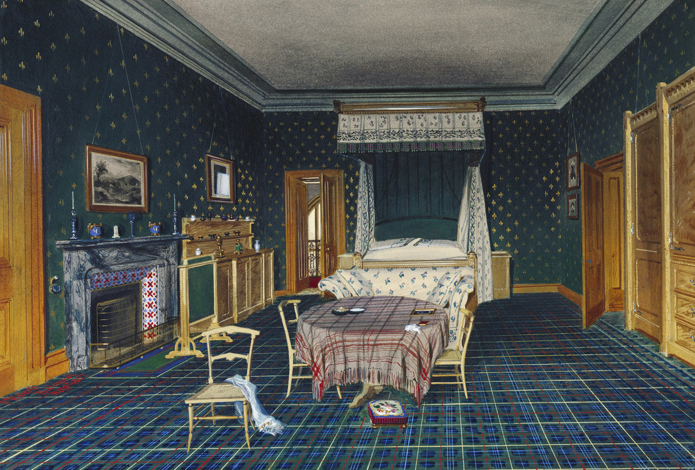 DM 4639: detailed interior view of the bedroom.  Signed, dated and inscribed.