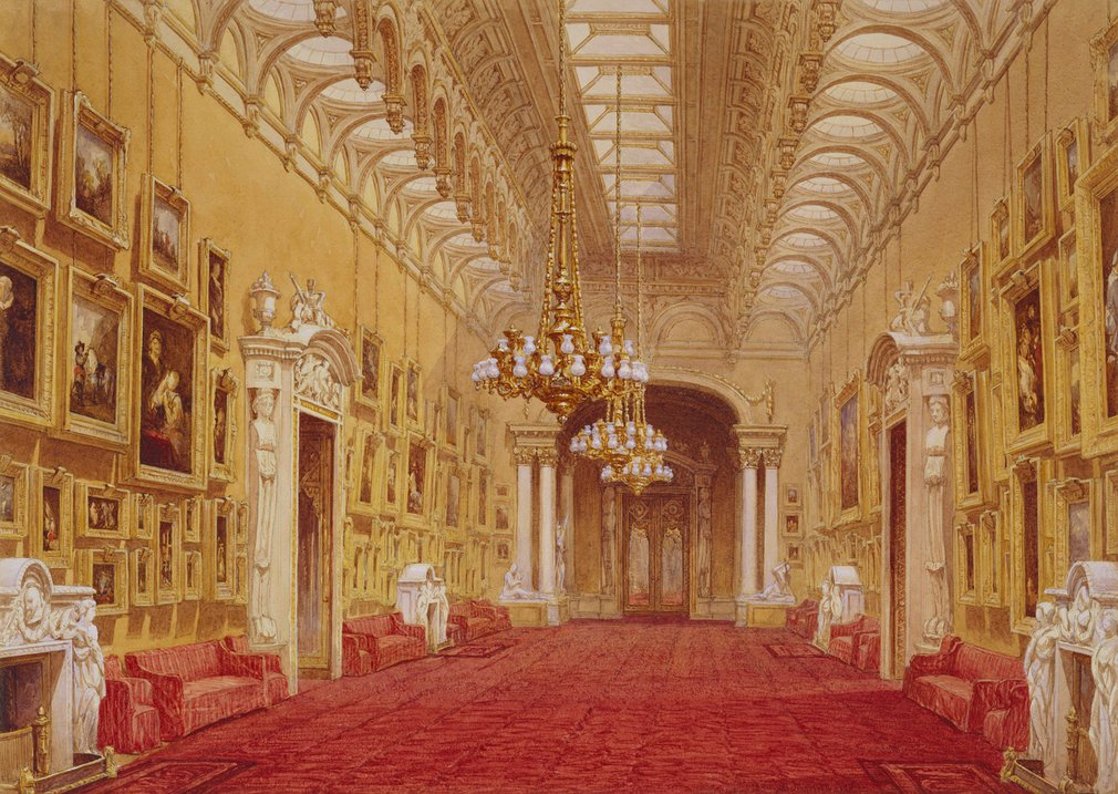 A watercolour of the interior of the Picture Gallery at Buckingham Palace. Signed and dated: Douglas Morison 1843. Morison was commissioned in 1843 by Queen Victoria and Prince Albert, who became keen collectors of the fashionable nineteenth-century wate