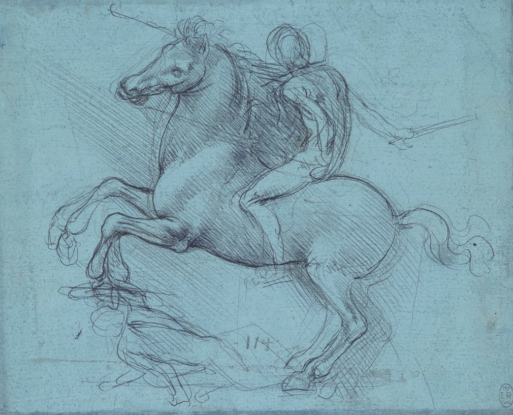 Recto: a study of a nude figure on a horse, rearing in profile to the left. A prostrate foe lies beneath the horse's raised fore-feet. Verso: rough drawings of walls; equilateral triangles; a wave; a crossbow; water falling from a pipe; a wheel in a box;