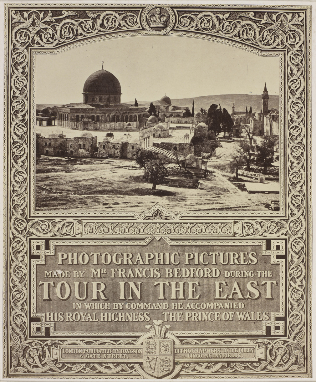 Photographic title page from Francis Bedford's Middle East views of 1862. Includes a copy of Bedford's view of the 'Mosque of Omar from the Governor's House' in Jerusalem (see RCIN 2700932).