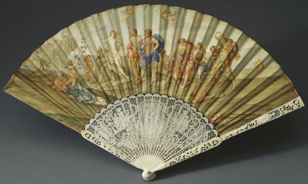 This fan leaf is based on the painting by Guido Reni (1575-1642) of Bacchus and Ariadne, completed in 1640 as a result of a commission from Cardinal Barberini as a gift to Queen Henrietta Maria. After the dispersal of Charles I's collection, by the late 1