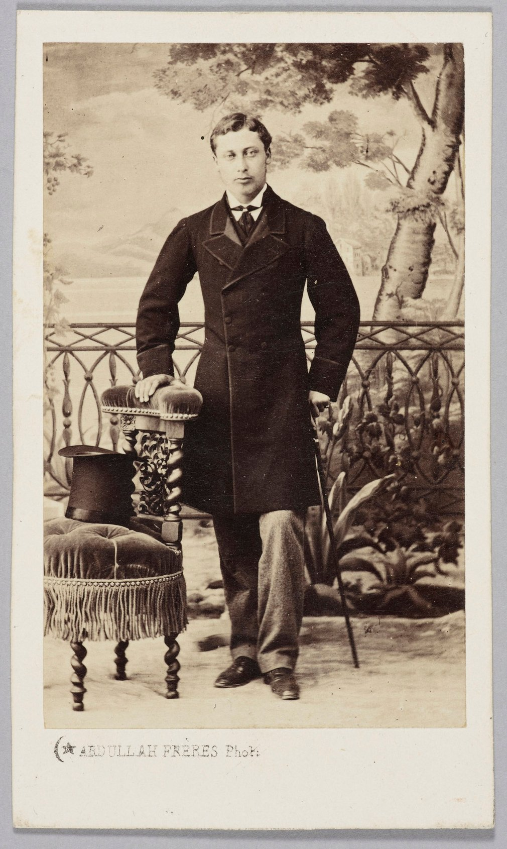 Carte-de-visite portrait of the Prince of Wales, later King Edward VII, taken in Constantinople at the end of his tour of the Middle East in 1862. The carte-de-visite is part of an album of cartes of the Prince of Wales, compiled over several years. The c