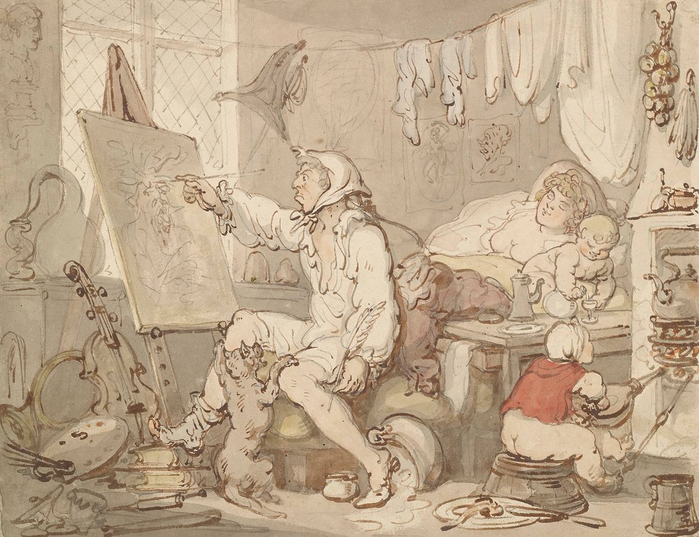 A watercolour of an artist seated, working at a canvas and resting his foot on a pile of books. In the background, his female companion is still asleep in bed whilst an unguarded infant pours a drink from a bottle. A second infant sits in front of a fire,